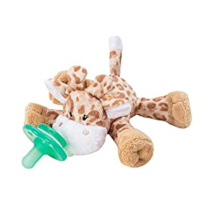 Nookums Paci-Plushies Buddies – Brown Giraffe Pacifier Holder – Adapts to Name Brand Pacifiers, Suitable for All Ages, Plush Toy Includes Detachable Pacifier