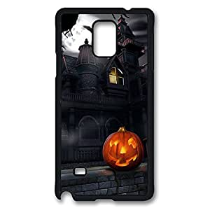 Galaxy Note 4 Case, Haunted House And Jack O Lantern Halloween Creativity Design Print Pattern Perfection Case [Anti-Slip Feature] [Perfect Slim Fit] Plastic Case Hard Black Covers for Samsung Galaxy Note 4