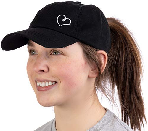 Heart Stitch | Ponytail Dad Hat Boating Lake Beach Pool Cute Pony Tail Low Cap - Black