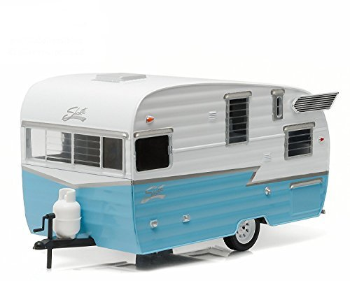Shasta Airflyte 15' Camper Trailer Blue for 1/24 Scale Model Cars and Trucks 1/24 by Greenlight (5th Wheel Toy)