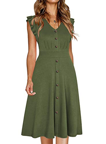 Ranphee Womens Ruffle-Frame Sleeveless V Neck Cotton A-Line Button Down Dress (XL, Army Green) ()