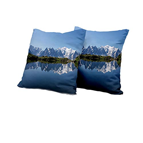 All of better Wheelchair Cushion Cover Lake,Mont Blanc Mountain Range Reflected in Cheserys Lake Alps France Panorama,Pale Blue White Green IKEA Pillow Covers 24x24 INCH 2pcs ()