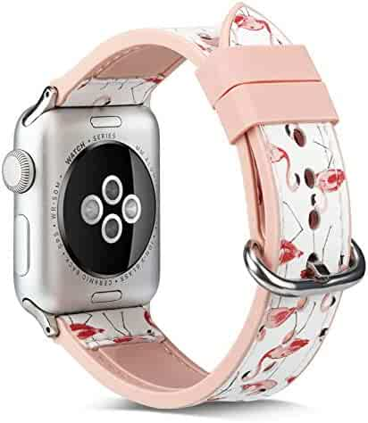 Juzzhou Watch Band For Apple Watch iWatch 38/40/42/44mm Series 1/2/3/4 Soft Silicone Leather Replacement With Adapter
