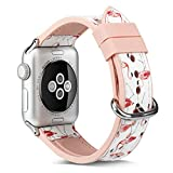 Juzzhou Watch Band For Apple iwatch Series 1 2 3 4 Sport Edition Soft Silicone Leather Colorful Replacement Wristband Wriststrap Bracelet Wrist Strap With Metal Adapter Clasp Woman Girl Lady 38mm 40mm