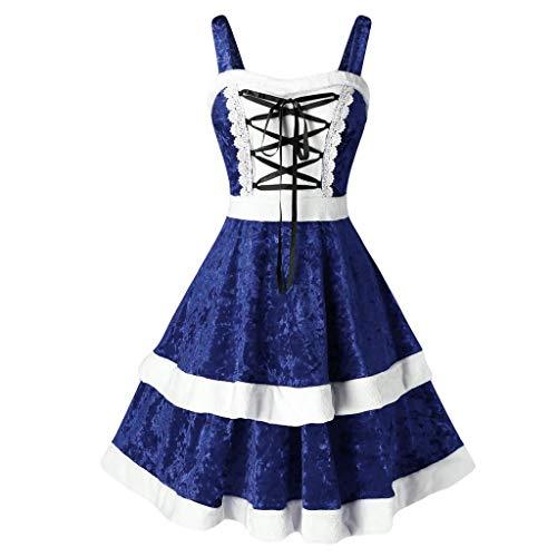 Women's Vintage Dress Sleeveless O-Neck Party Cocktail Dress Blue (David Meister Strapless Dress)