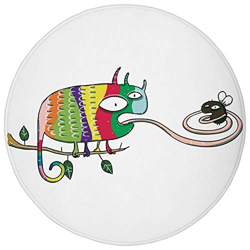 Round Rug Mat Carpet,Reptiles,Colorful Chameleon on the Branch Playing with Grumpy Fly Animal Humor Cartoon Reptiles Decor,Multi,Flannel Microfiber Non-slip Soft Absorbent,for Kitchen Floor Bathroom]()