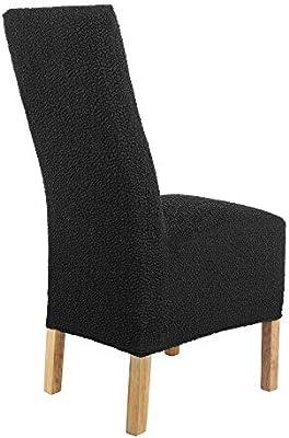 SCHEFFLER-Home Jacquard Lea 2 Fundas de sillas, Estirable Cubiertas, extraíble flexibel Funda con Banda elástica, Negro
