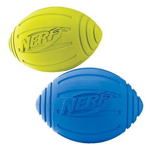 Nerf Dog Squeak Ridged Rubber Football Dog Toy, Medium/Large, (2-Pack), Green and Blue