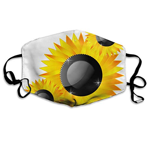 HBLSHISHUAIGE Sunflower Clipart Abstract Adult Creative Mouth-Masks Washable Safety 100% Polyester Comfortable Breathable Health Anti-Dust Half Face Masks