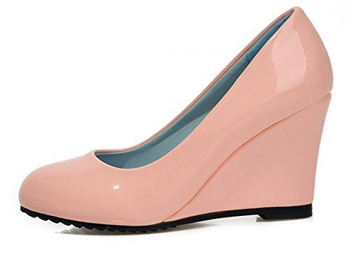 Aisun Damen Elegant Lack Kunstleder Runde Zehen Geschlossen Low Cut Keilabsatz Pumps Pink