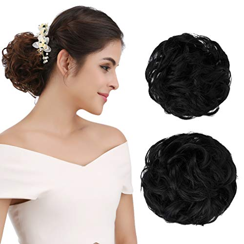 - REECHO Women's Thick 2PCS Curly Wavy Updo Hair Bun Extensions Messy Hairpieces - Natural Black
