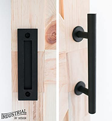 Barn Door Handle With Flush Pull, Includes Installation bolts ? Heavy Duty, Durable Powder Coated Black Finish Matches Industrial By Design Hardware Kits ? 12-Inch Handle, 8 5/8-Inch Flush Pull