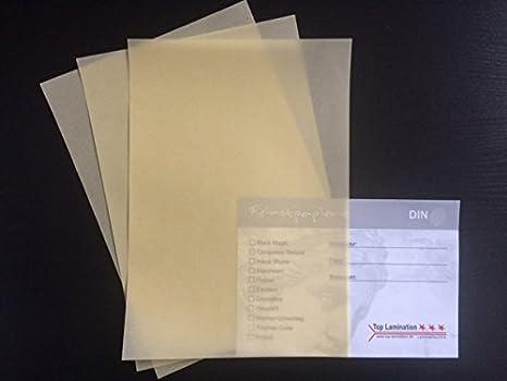 Top Lamination 50 Feuilles DIN A6 Papier Transparent Jaune Crme 100 G M Excellente Durchsicht