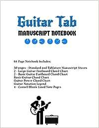Guitar Tab Notebook: Standard & Tablature Staves w/ Basic Chord ...