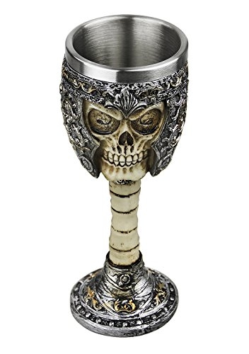 Halloween Skull Wine Golbet Medieval Dead Knight Helmet Skull Golbet Drinking Cup Stainless Steel Demitasse,Skeleton Chalice,Collectible Party Home Decor Gift -