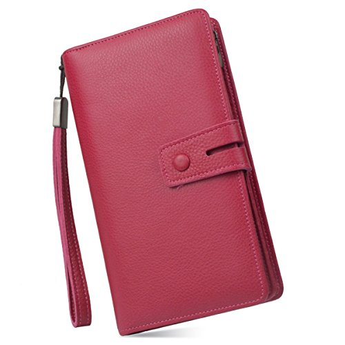 Women's Big Fat Rfid Blocking Leather Wristlets Wallet Clutch Organizer Checkbook Holder (Deep Pink) Top Fold Checkbook Wallet