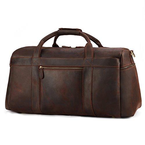 Kattee Retro Leather Duffel Bag Large Overnight Travel Bag by Kattee (Image #3)