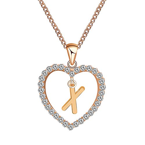 (Gbell Fashion Girls Women A-Z Letters Necklaces Charms,26 English Alphabet Name Chain Pendant Necklaces Jewelry Birthday Gifts, Ideal for Party Costume,Wedding,Engagement (X))