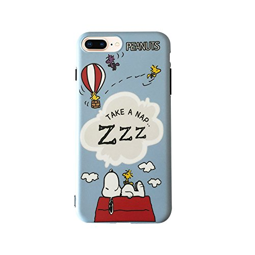 - Soft TPU Blue Snoopy Dog Case for iPhone 7Plus 8Plus 7+ 8+ Slim Sleek Fit Sleeping on Cloud Dreaming Sleeping Shockproof Protective Cute Lovely Gift Kids Teens Girls Boys Son Peanuts