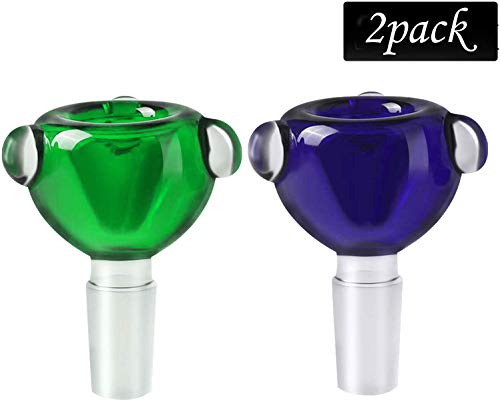 Goaytoop 2 Pcak Handmade Holder Glass Herb Bowl Blue & Green (14mm)