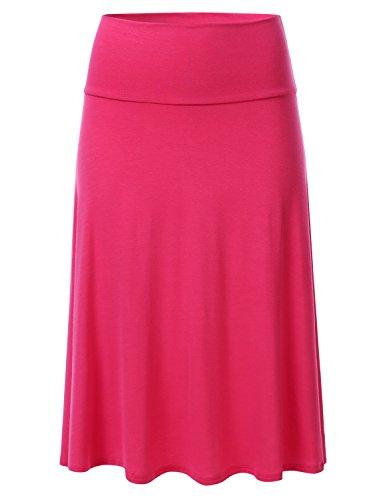 Waist Skirt Elastic Woven (FLORIA Women's Solid Lightweight Knit Elastic Waist Flared Midi Skirt Coral 1XL)