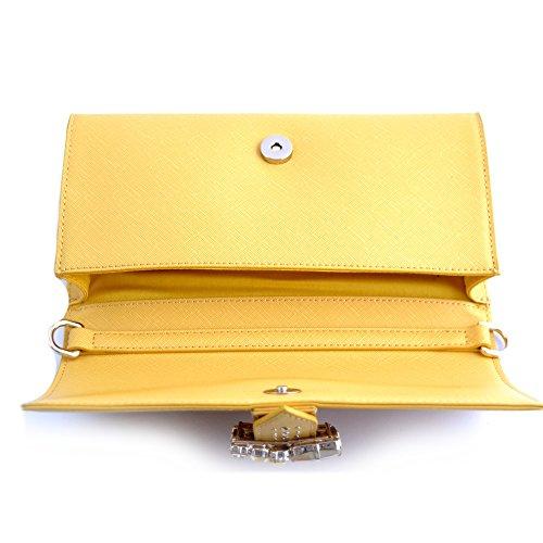 Ermanno Scervino Borsa pochette donna pelle gialla con tracolla regolabile. Tasche interne e chiusura con bottone magnetico su patta con applicazione di gemme.