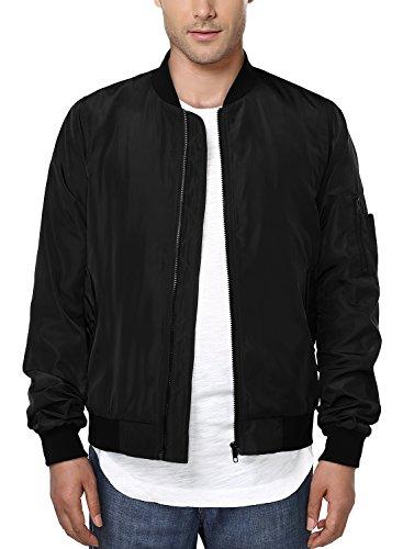 HEMOON Men's Casual Sportswear Lightweight Baseball Bomber Jacket L Black (Baseball Jacket Black)