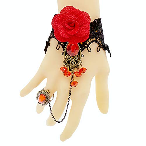 ArRord Handmade Retro Black Lace Vampire Gothic Jewelry Women Bracelet and Ring with Flower for Dinner Birthday Wedding Bridal Party -