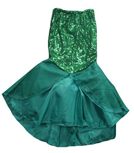 [BYBU Baby Girl Sequins Little Mermaid Costume Dress Green 10-11T] (Little Mermaid Tutu Dress)