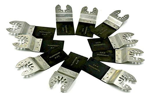 10 Pack Ecut Bi-metal Oscillating Tool Blade WITH QUICK RELEASE UNIVERSAL ARBOR for Dewalt, Makita, Craftsman, Bosch, Chicago, Milwaukee, Etc. ... ()