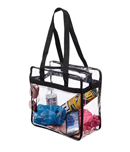 "NFL & PGA Compliant Clear Stadium Security Zippered Shoulder Bag Travel & Gym Tote By Bags For Less – Sturdy PVC Construction with External Pocket– 12"" X 12"" X 6""G – Color Fabric Trim & Long Handles"
