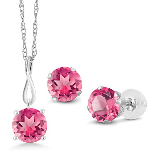 Gem Stone King 4.50 Ct Round Pink Mystic Topaz 10K White Gold Pendant Earrings Set With Chain