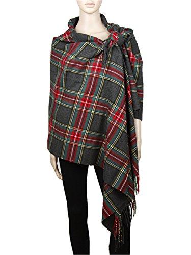 "Achillea Long & Wide Scottish Tartan Plaid Large Cashmere Feel Blanket Scarf Check Shawl Wrap 80"" x 29"" (Grey)"