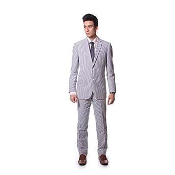 Classy Men's Seersucker White and Blue Stripe Two Button Suit (48 Regular)