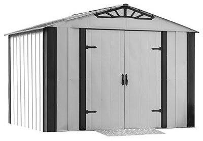 - Arrow Designer Steel Storage Shed, Java/Sand, 10 x 8 ft.