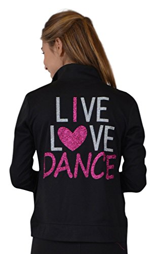 Stretch is Comfort Women's Rayon Live Love Dance Warm Up Black Jacket Medium price