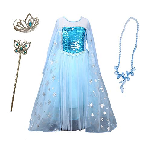 Girl Themed Party (Cosplay Cinderella Butterfly Party Girls Costume Dress for Toddlers with Tiara Necklaces and Wand (100cm(2-3Y), Blue(Long)