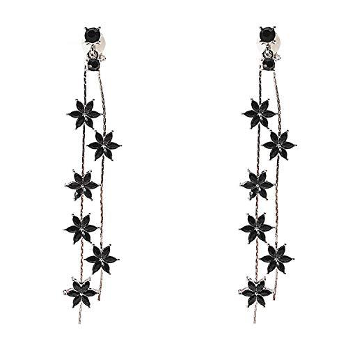 - Flower Long Tassel Clip on Earrings Dangle Fringe Black Crystal non Pierced for Women Girls Christmas
