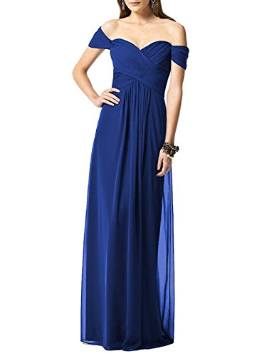 Womens Long Off Blue Dresses Evening Ruched Shoulder Gown Formal Bridesmaid Chiffon Royal OqXXxrptw