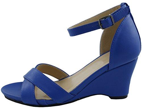 Wedge Sandal Blue Ankle Platform Womens Select Cambridge Royal Toe Strappy Open Crisscross O4Bx8w1q
