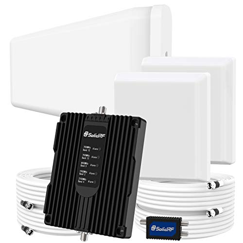 SolidRF Cell Phone Booster for Home Up to 8, 000 sq ft Dual Interior Antennas Office Multiroom | Verizon, AT&T, T-Mobile, Sprint & More Signal Plus Cell Signal Booster Kit