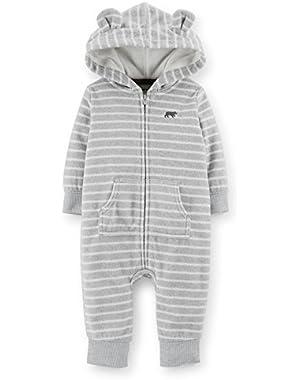 Little Boys' Fleece Hood Jumpsuit (18 Months, Gray)