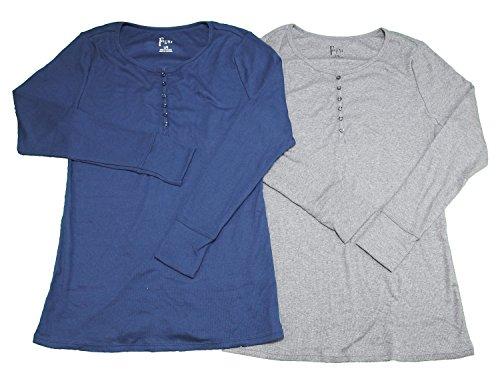 Felina 2 Pack Women's Long Sleeve Rib Knit Henley Tees, Large Navy/Gray