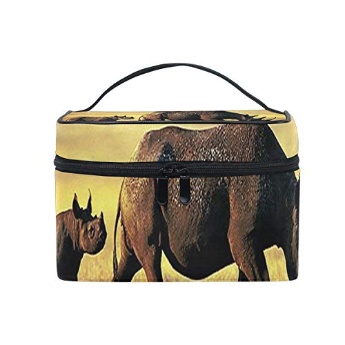 - Travel Cosmetic Bag Two Endangered Black Rhinos Toiletry Makeup Bag Pouch Tote Case Organizer Storage For Women Girls