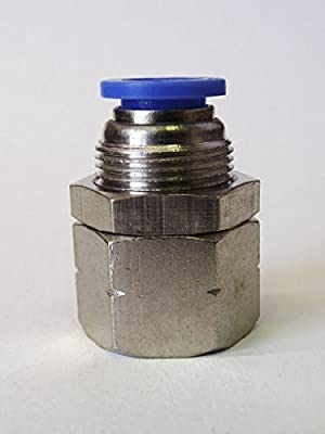 "MettleAir Push to Connect Straight Bulkhead Female Fitting 8 mm OD, 1/4""NPT"