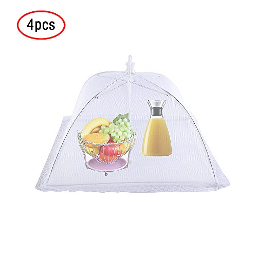 (Food Cover Tents(4PCS Pop Up Mesh Lace Screen Food Cover Reusable and Collapsible) Outdoor Food Cover,Food Protector Tent Keep Out Flies,Bugs, Mosquitoes 16.5