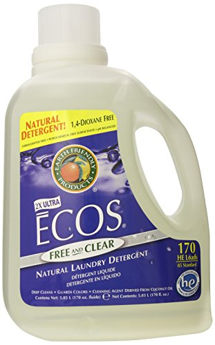 Earth Friendly Products Ecos Liquid Laundry Detergent,with built-in fabric softener, Free and Clear, 170 Ounce