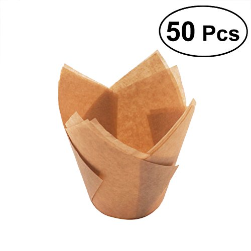 OULII 50Pcs Cupcake Wrappers Liners Tulip Shape Muffin Cases Cake Cup Party Favors (Golden)
