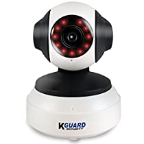 KGUARD Security QRT-501 Motion Technology HD Wireless Wi-Fi Pan/Tilt IP Camera with Night Vision, 720P, White