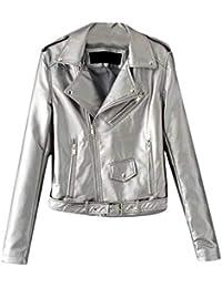 61087b69a27 Womens Lapel Long Sleeve Faux Leather Coat Stylish Belt Biker Brigade  Sparkle Outerwear Jacket